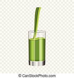 Glass of kiwi juice mockup, realistic style