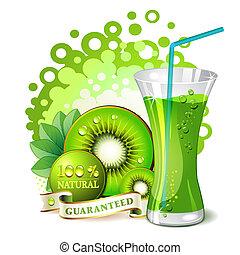 Glass of kiwi juice with kiwi slices