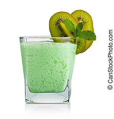 Glass of kiwi smoothie with fruits and fresh green mint leaves