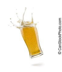 lager beer - glass of lager beer floating on white ...