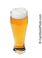 Glass of lager beer - Glass of beer isolated on white