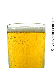 Top of a glass of lager wth white head, isolated on white background