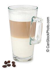 Glass of latte macchiato on the white background