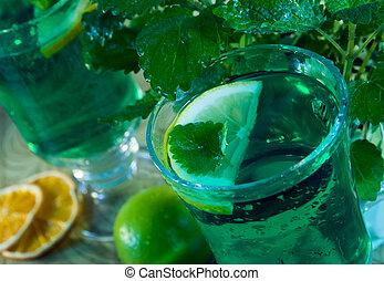 Green drink - Glass of lemon balm tea. Green drink