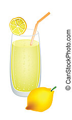 Glass of Lemon Juice and Fresh Lemons - A Glass of Lemonade...