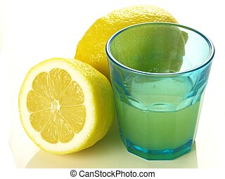 Glass of lemon juice, isolated - Glass of just squeezed...