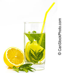 Glass of lemonade isolated on white background