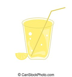 Glass of lemonade with a slice of lemon isolated on a white background.