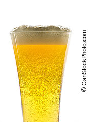 Glass of light beer on white background