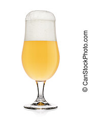 Glass of light wheat beer isolated on a white.