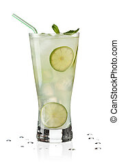 A glass of cold limeade with ice cubes and slices of lime on white background.