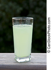 Glass of Limeade served outdoors with trees in the background