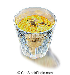 Glass of liquor - 3d illustration, glass of yellow liquor on...