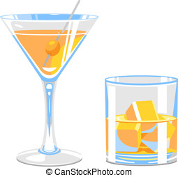 Glass of martini and whiskey - Set of stylized glasses of...