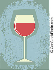 Glass of martini and wine.Vector grunge symbol