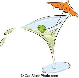 glass of martini - tilted glass of martini olives and...