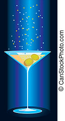 glass of martini with sparkles