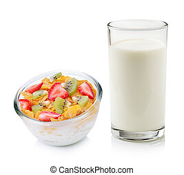 glass of milk and corn flakes with fruit on white background