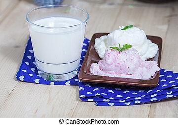 glass of milk and ice cream