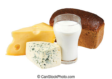 Glass of milk, bread and cheese on white background