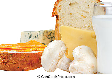 Glass of milk, bread, mushrooms and cheese on white background