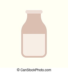 Glass of milk flat icon, dairy product concept