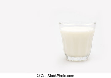 Glass of milk - Fresh cold milk in a glass, isolated on...
