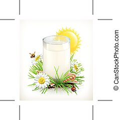 Glass of milk in the grass