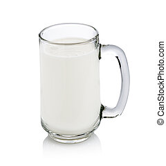 glass of milk isolated on white with