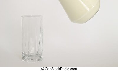 Glass of milk on a light background