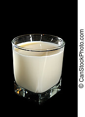 Glass of Milk on Black Background