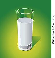Glass of milk on green background - vector illustration
