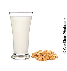 glass of milk with almond isolated on white background