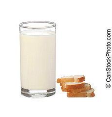glass of milk with bread isolated on white background