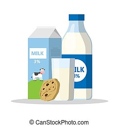 Glass of milk with chocolate cookies - A bottle and glass of...