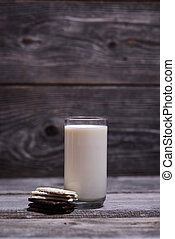 Glass of milk with chocolate