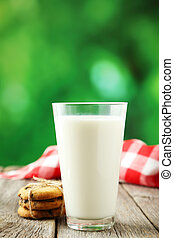 Glass of milk with cookies on grey wooden background