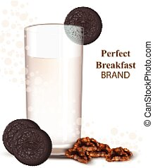 Glass of milkshake with chocolate cookies Vector...