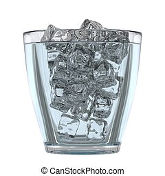 Glass of mineral water with ice, 3D render