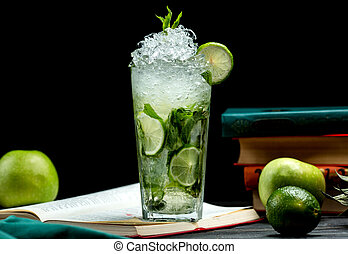 glass of mojito with lime, mint and ice