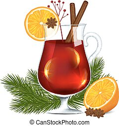 Glass of mulled wine - A glass of mulled wine on a white...