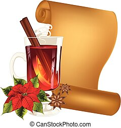 Glass of mulled wine - Hot winter drink, mulled wine glass ...