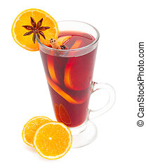 glass of mulled wine with oranges