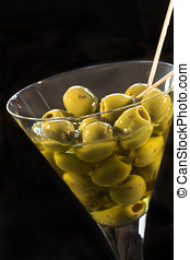 Glass of olives