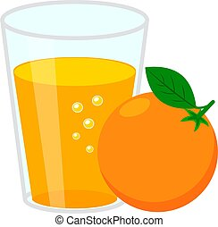 Glass of orange juice and orange fruit. Simple flat vector illustration isolated on white background.