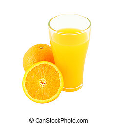 Glass of orange juice and riped fruit side on white background.