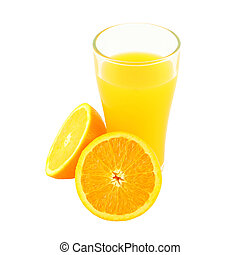 Glass of orange juice and two riped side on white background.