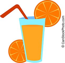 Glass of orange juice, illustration, vector on white background.