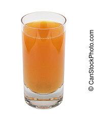 Glass of orange juice on white