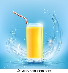 Glass of orange juice with a drinking straw